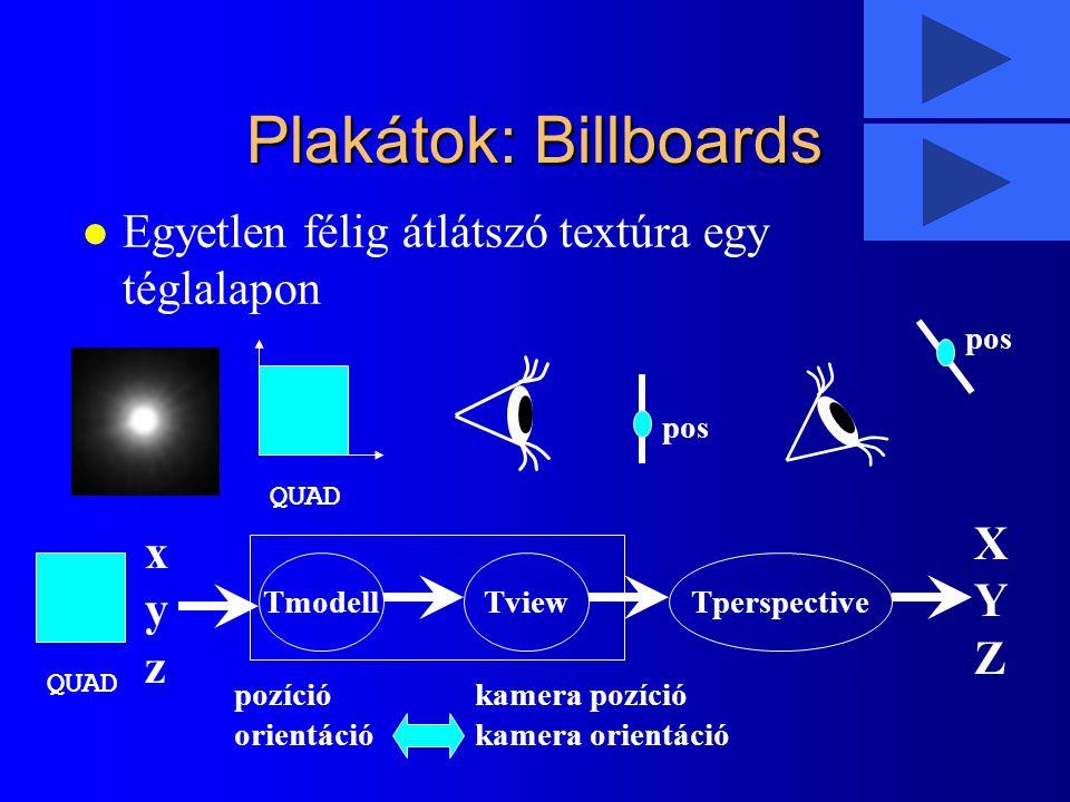 Plakátok: Billboards Egyetlen félig átlátszó textúra egy téglalapon X