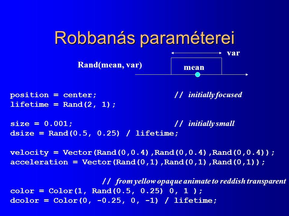 Robbanás paraméterei var Rand(mean, var) mean
