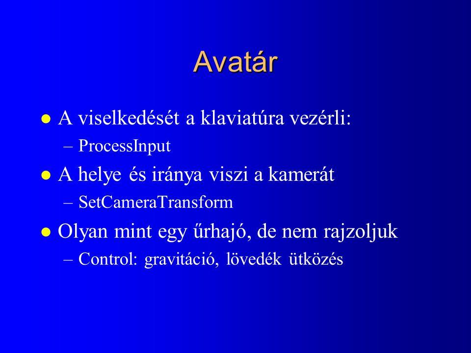 Avatár A viselkedését a klaviatúra vezérli: