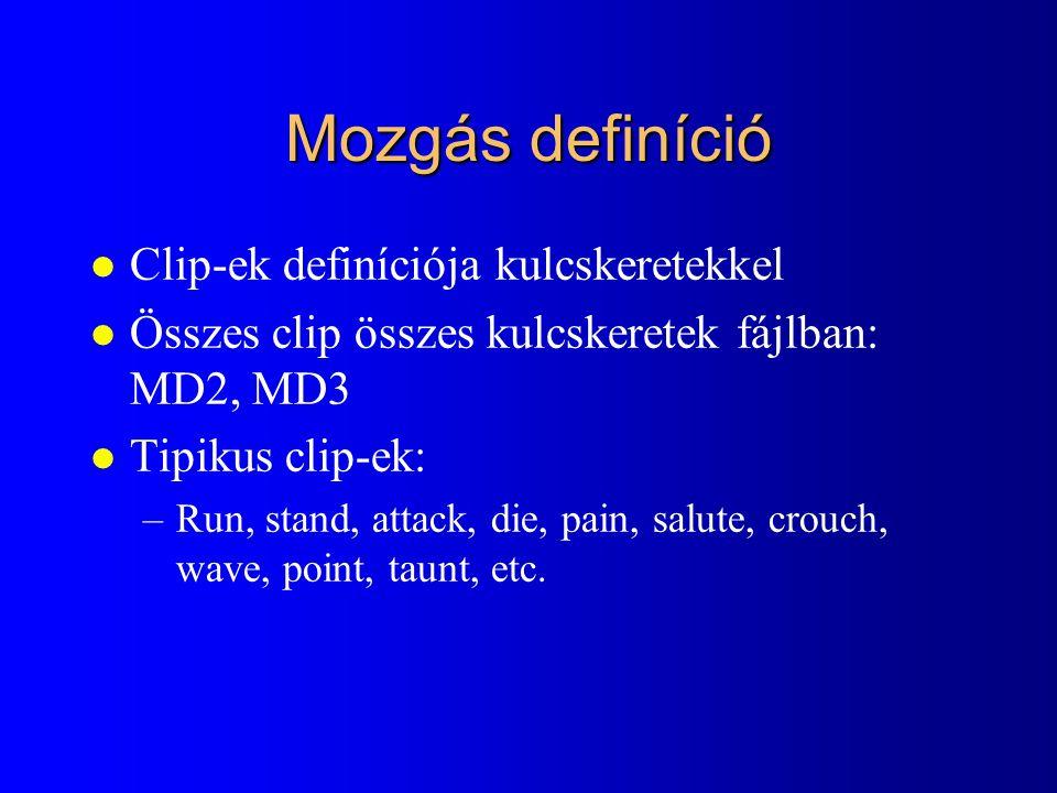 Mozgás definíció Clip-ek definíciója kulcskeretekkel