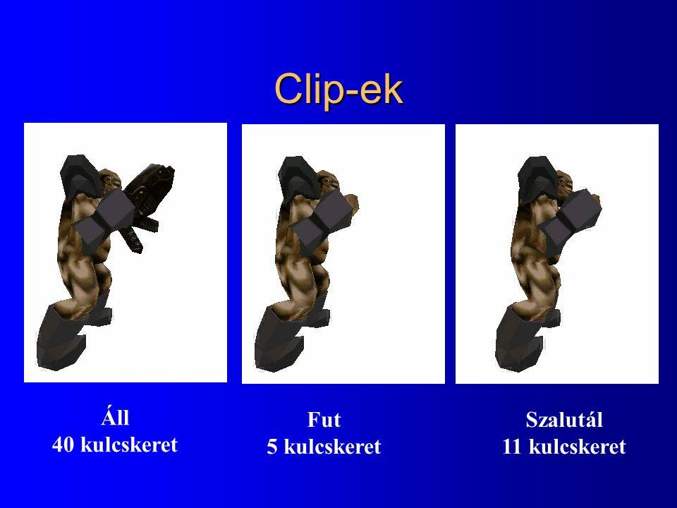 Clip-ek Áll 40 kulcskeret Fut 5 kulcskeret Szalutál 11 kulcskeret
