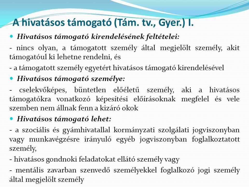 A hivatásos támogató (Tám. tv., Gyer.) I.