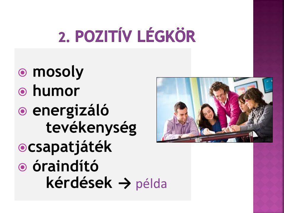 energizáló tevékenység csapatjáték óraindító kérdések → példa