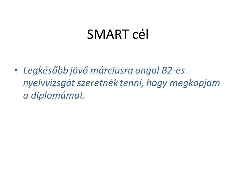 SMART cél Legkésőbb jövő márciusra angol B2-es nyelvvizsgát szeretnék tenni, hogy megkapjam a diplomámat.