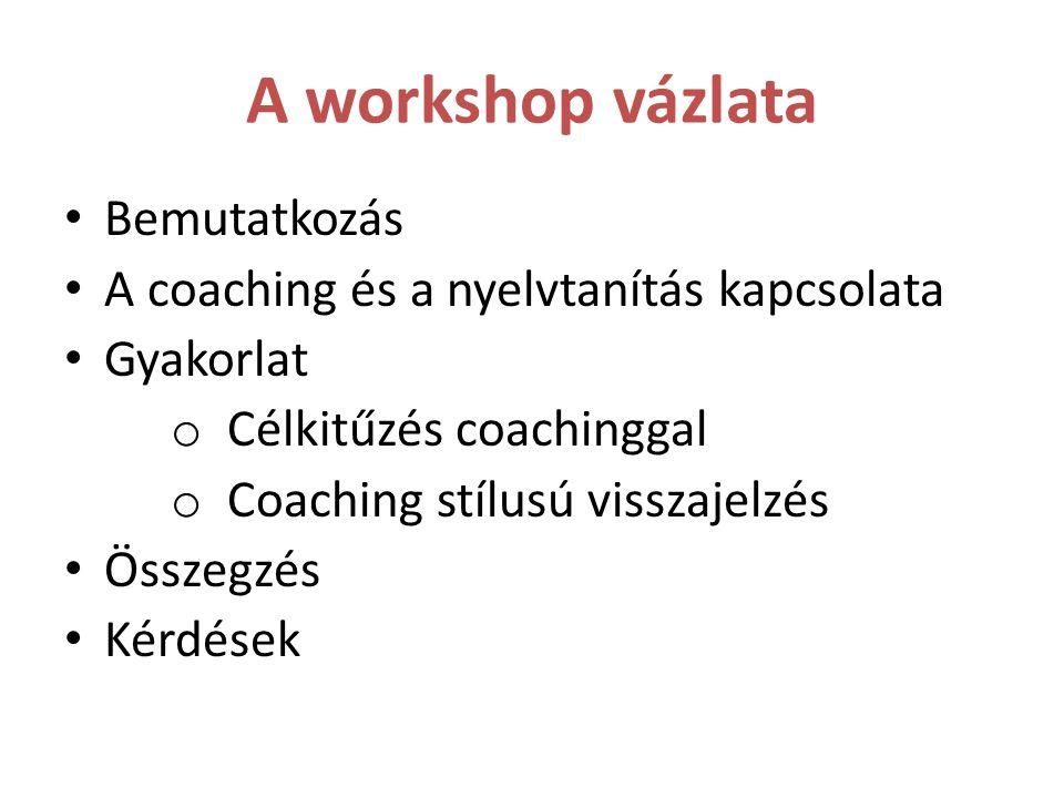 A workshop vázlata Bemutatkozás