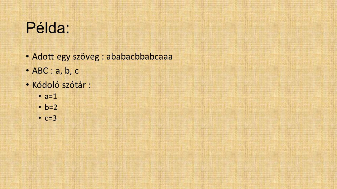 Példa: Adott egy szöveg : ababacbbabcaaa ABC : a, b, c Kódoló szótár :