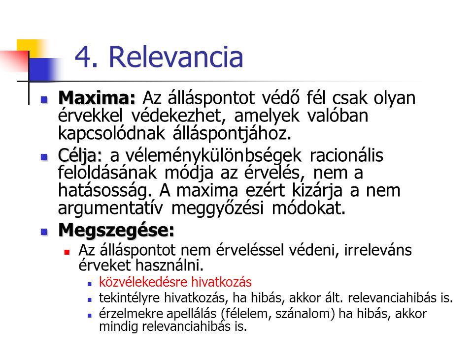 4. Relevancia Maxima: Az álláspontot védő fél csak olyan érvekkel védekezhet, amelyek valóban kapcsolódnak álláspontjához.
