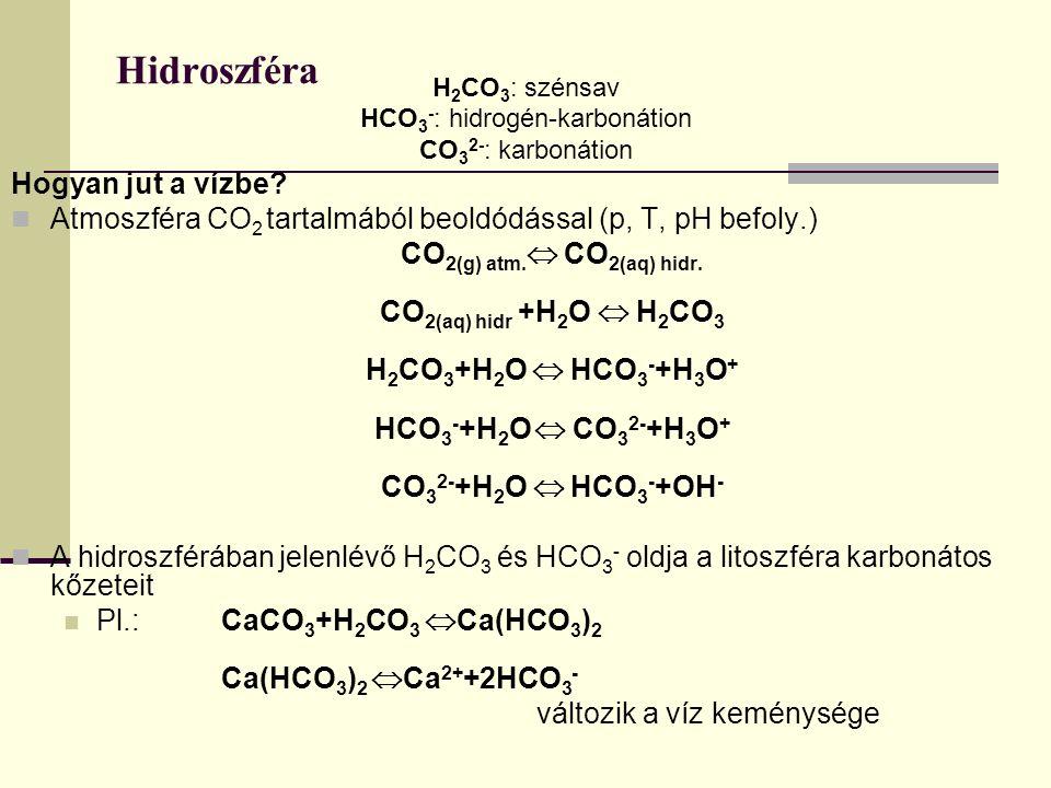 HCO3-: hidrogén-karbonátion