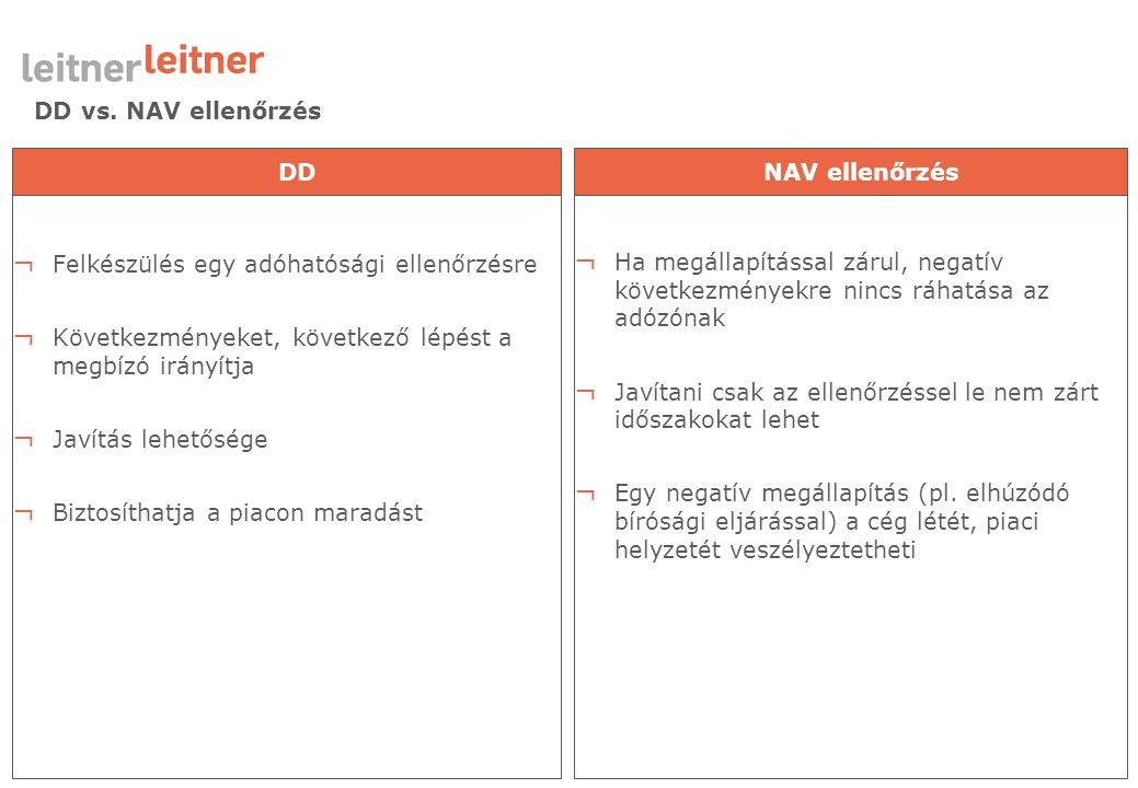 DD vs. NAV ellenőrzés DD. NAV ellenőrzés. Felkészülés egy adóhatósági ellenőrzésre. Következményeket, következő lépést a megbízó irányítja.