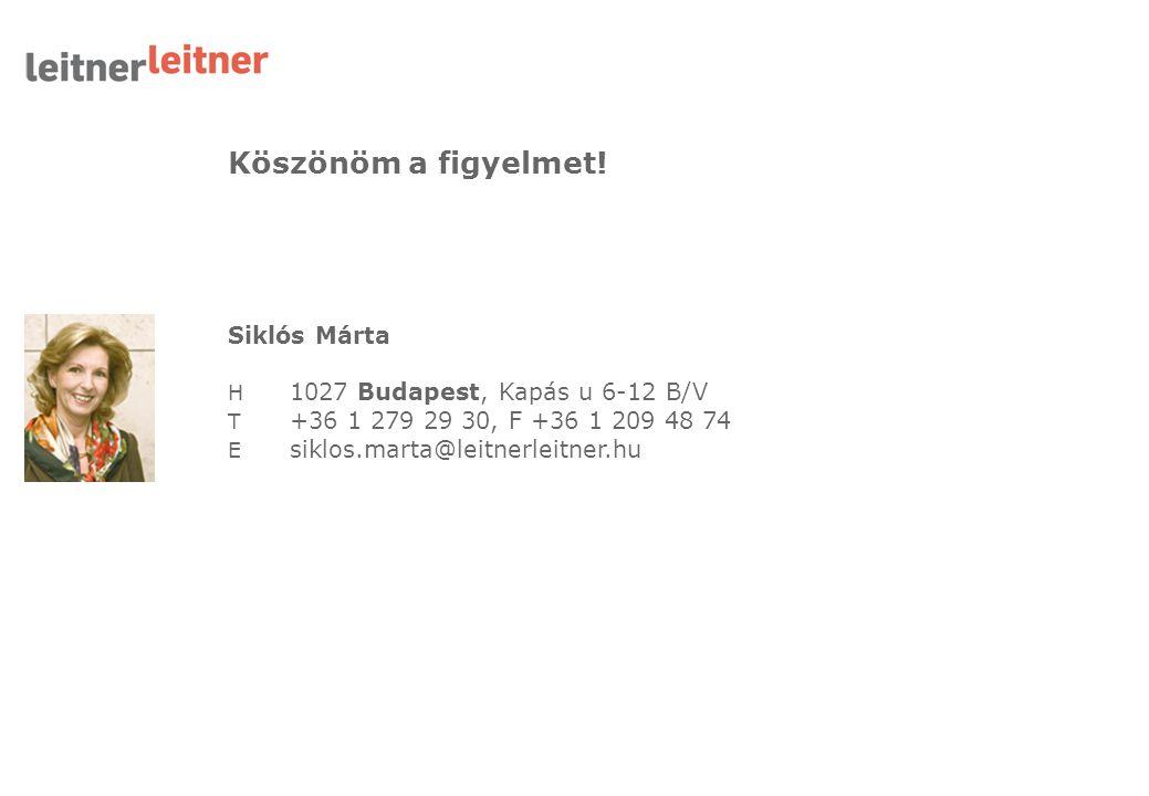Köszönöm a figyelmet! Siklós Márta H 1027 Budapest, Kapás u 6-12 B/V