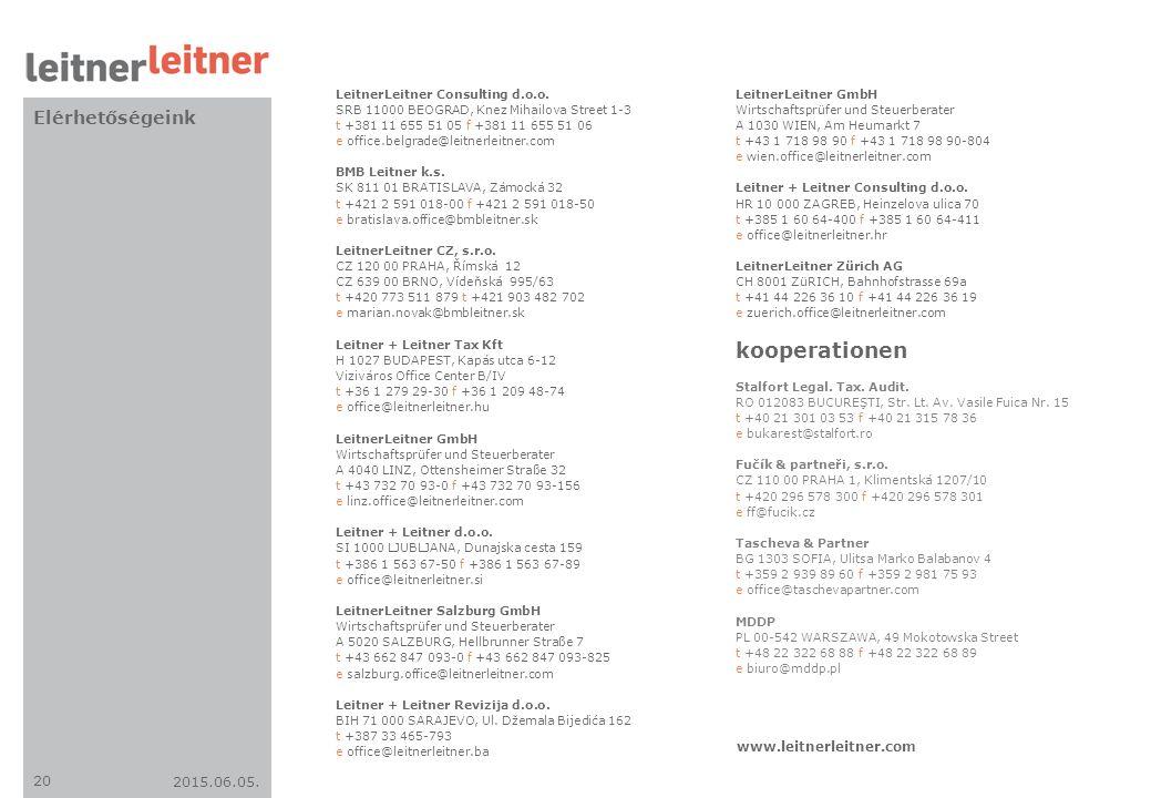 kooperationen Elérhetőségeink www.leitnerleitner.com