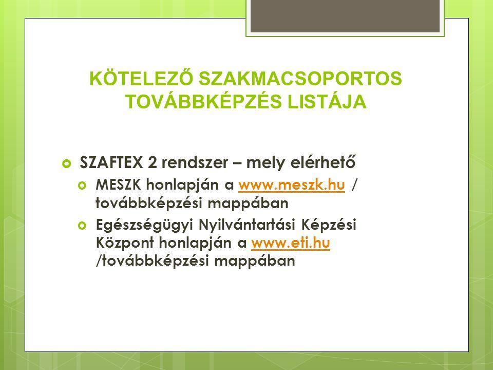 KÖTELEZŐ SZAKMACSOPORTOS TOVÁBBKÉPZÉS LISTÁJA