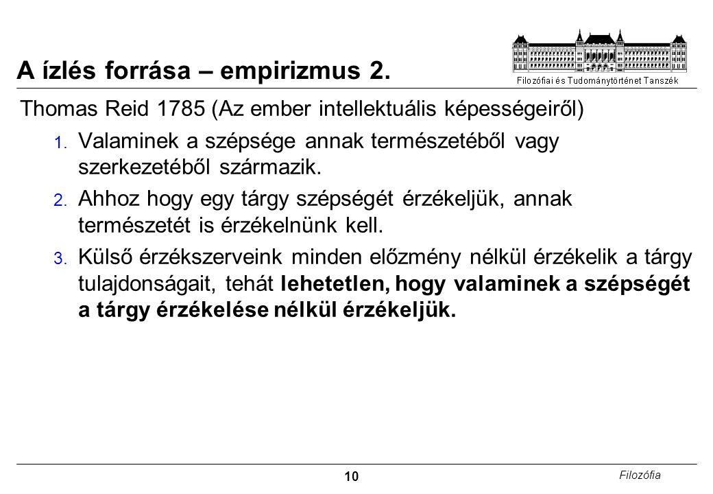 A ízlés forrása – empirizmus 2.