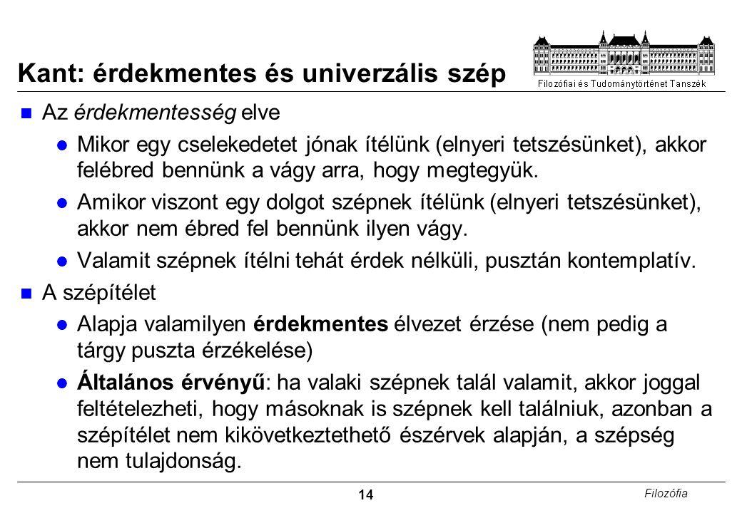 Kant: érdekmentes és univerzális szép