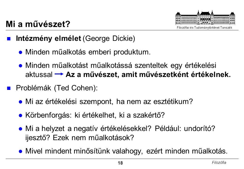 Mi a művészet Intézmény elmélet (George Dickie)