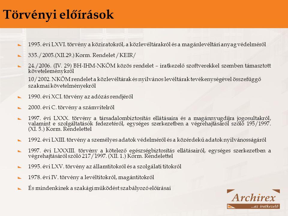 Törvényi előírások 1995. évi LXVI. törvény a köziratokról, a közlevéltárakról és a magánlevéltári anyag védelméről.
