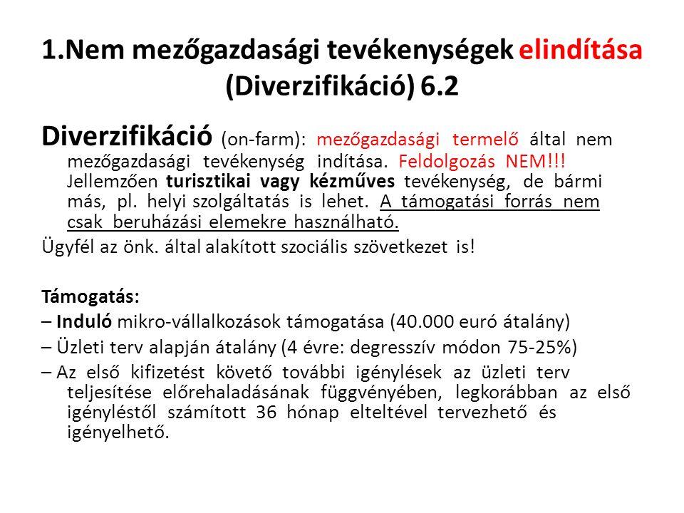 1.Nem mezőgazdasági tevékenységek elindítása (Diverzifikáció) 6.2