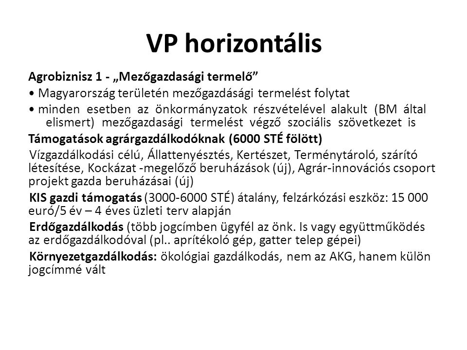 VP horizontális