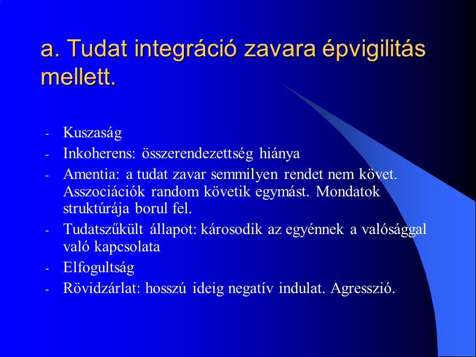 a. Tudat integráció zavara épvigilitás mellett.