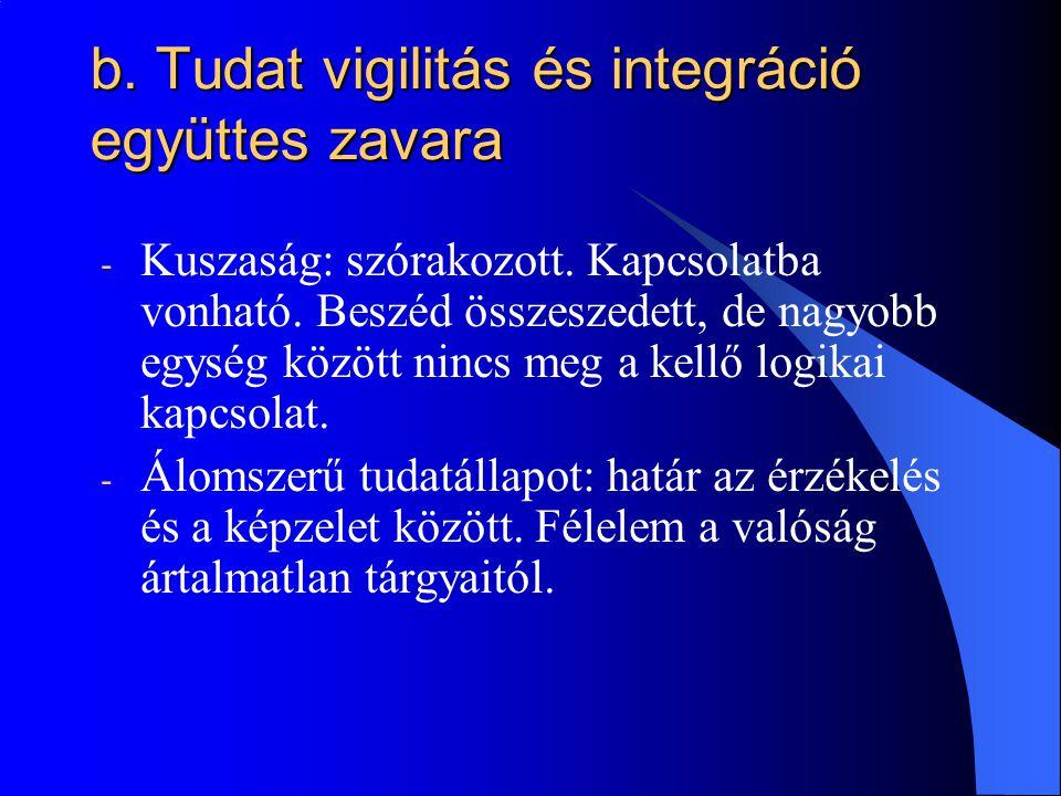 b. Tudat vigilitás és integráció együttes zavara