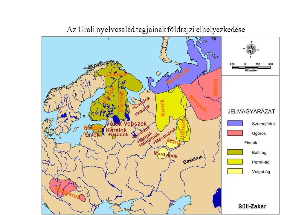 Az Urali nyelvcsalád tagjainak földrajzi elhelyezkedése