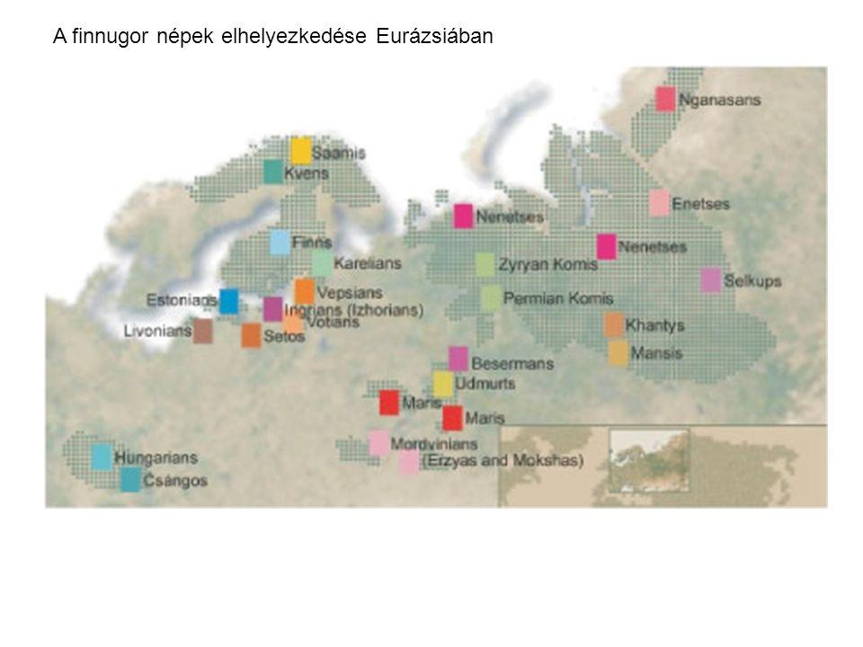 A finnugor népek elhelyezkedése Eurázsiában