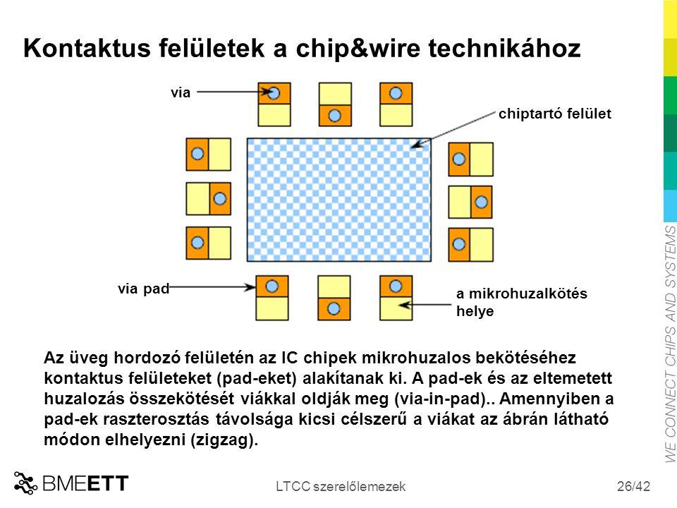 Kontaktus felületek a chip&wire technikához