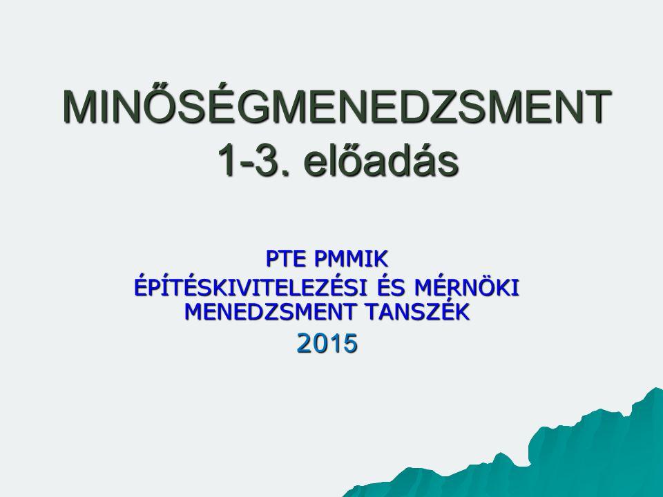 MINŐSÉGMENEDZSMENT 1-3. előadás