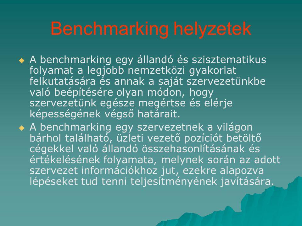 Benchmarking helyzetek