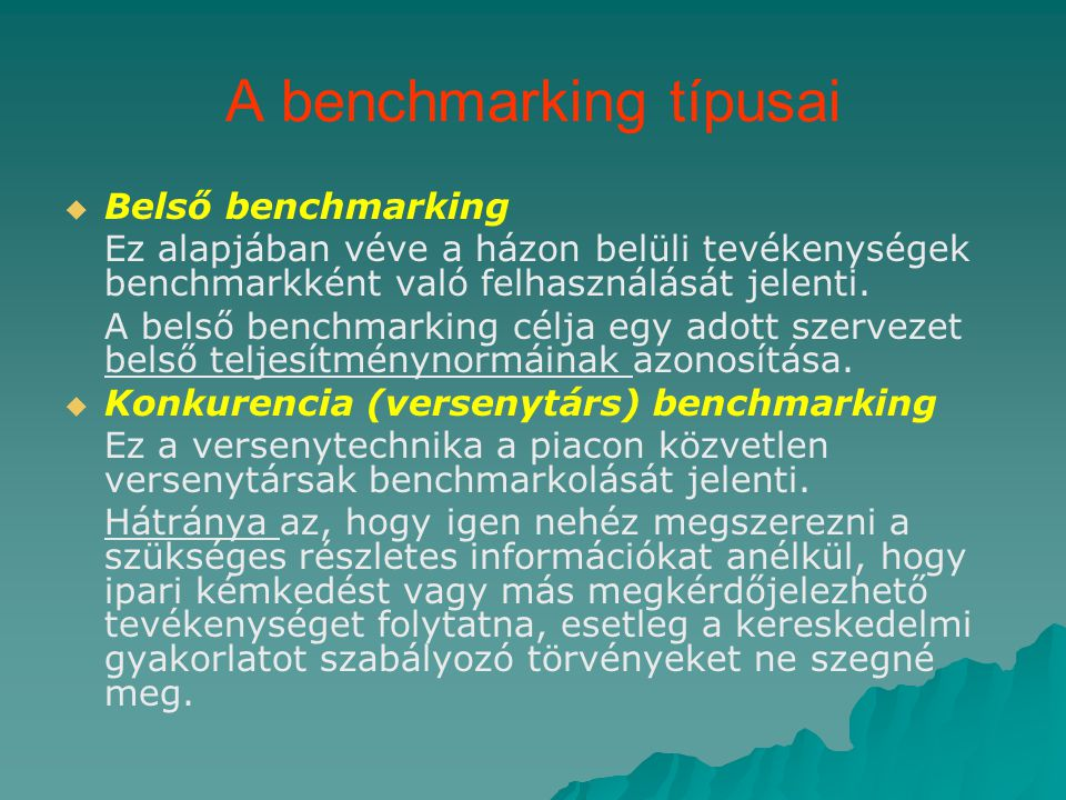 A benchmarking típusai