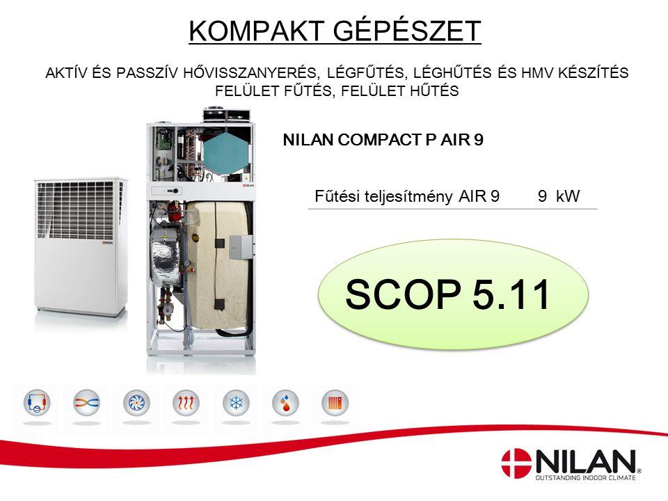 SCOP 5.11 KOMPAKT GÉPÉSZET Fűtési teljesítmény AIR 9 9 kW