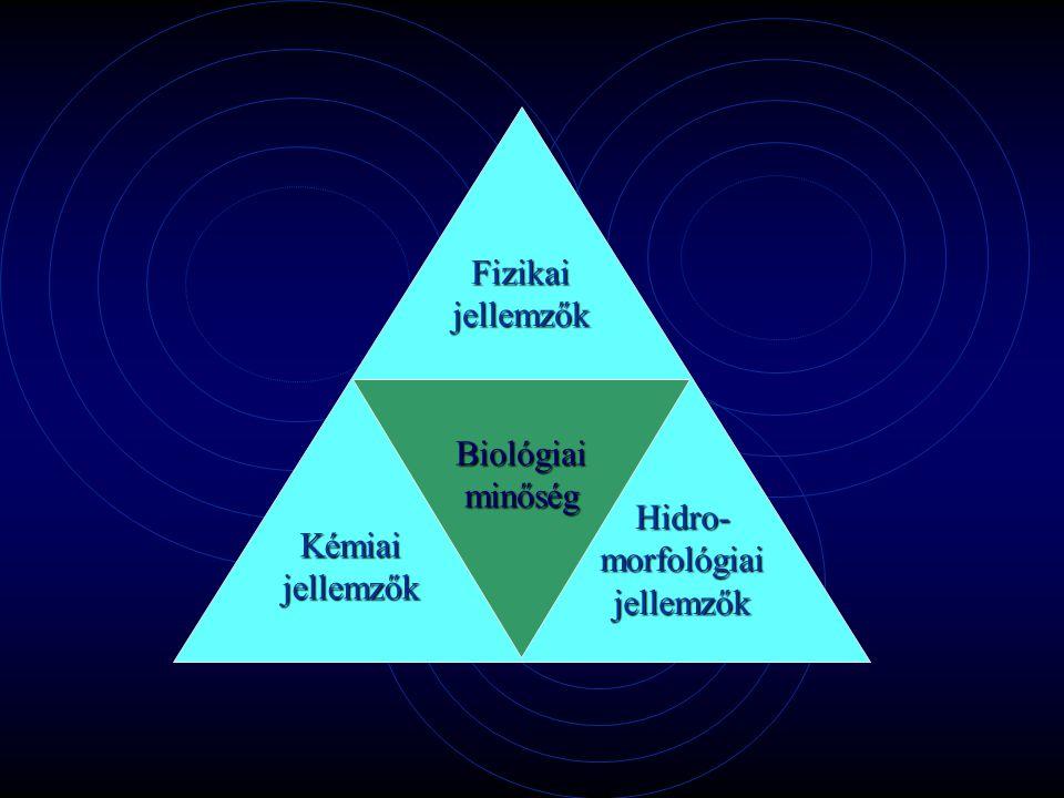 Fizikai jellemzők Biológiai minőség Hidro- morfológiai jellemzők Kémiai jellemzők