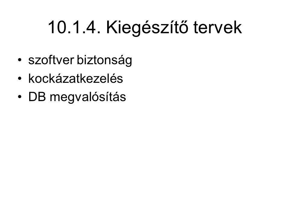10.1.4. Kiegészítő tervek szoftver biztonság kockázatkezelés
