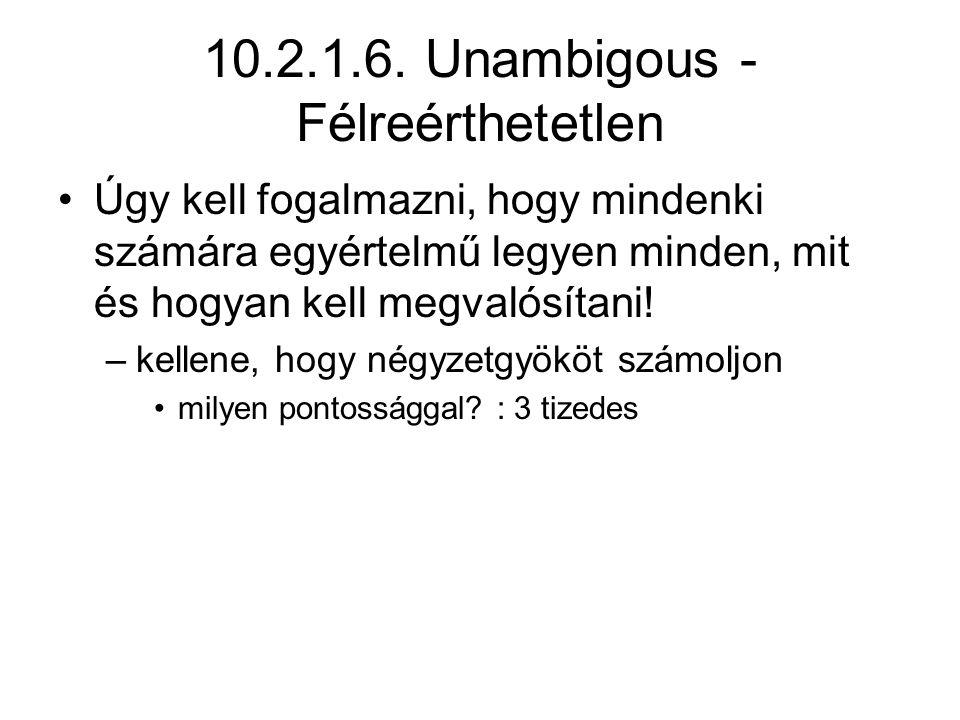 10.2.1.6. Unambigous - Félreérthetetlen