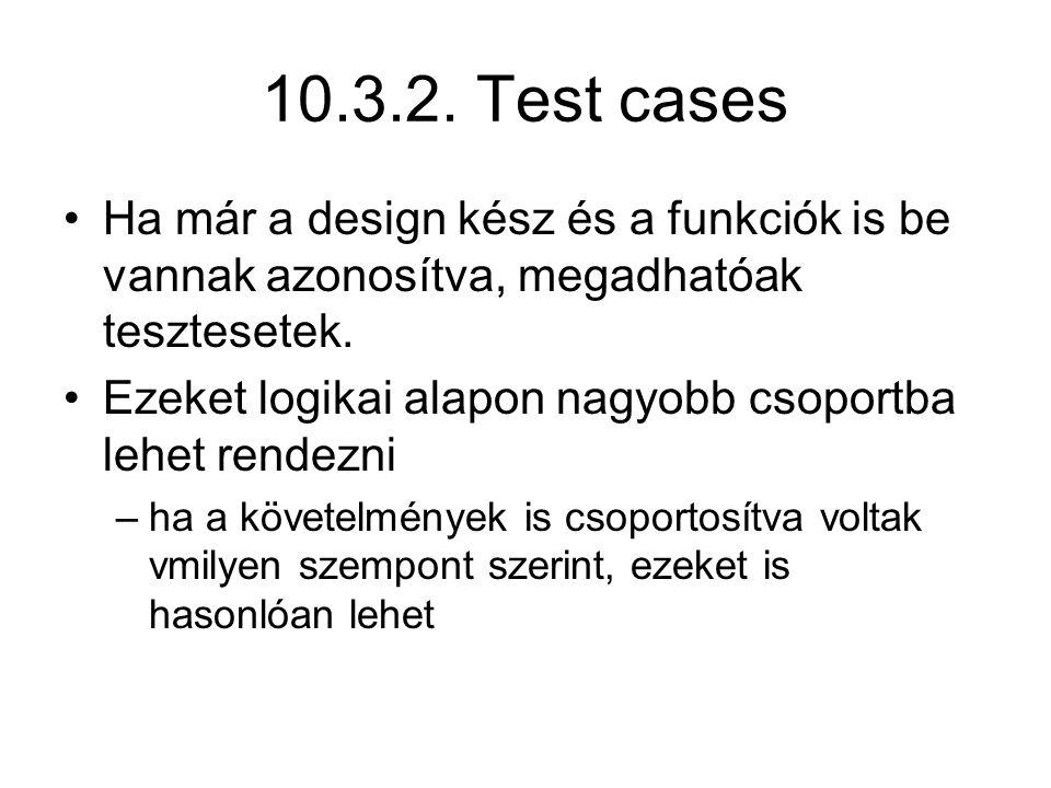 10.3.2. Test cases Ha már a design kész és a funkciók is be vannak azonosítva, megadhatóak tesztesetek.