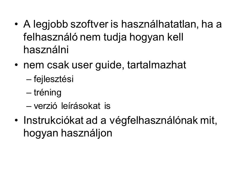 nem csak user guide, tartalmazhat
