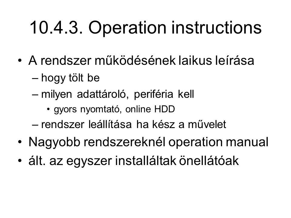 10.4.3. Operation instructions