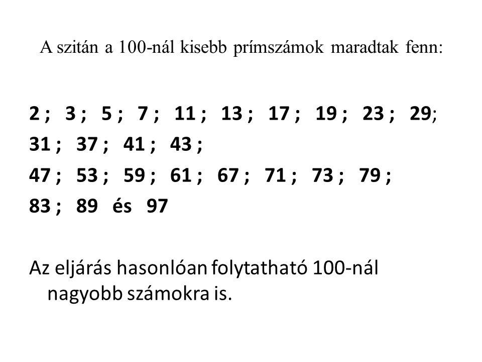 A szitán a 100-nál kisebb prímszámok maradtak fenn:
