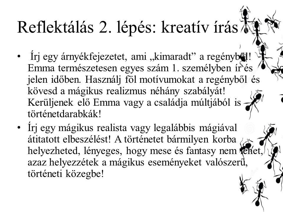 Reflektálás 2. lépés: kreatív írás