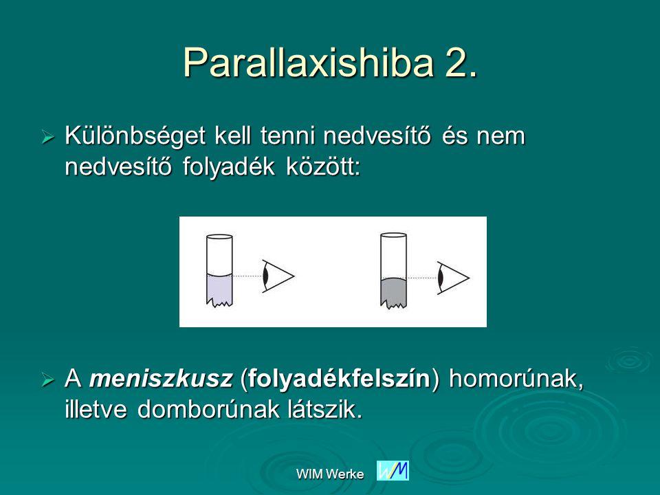 Parallaxishiba 2. Különbséget kell tenni nedvesítő és nem nedvesítő folyadék között: