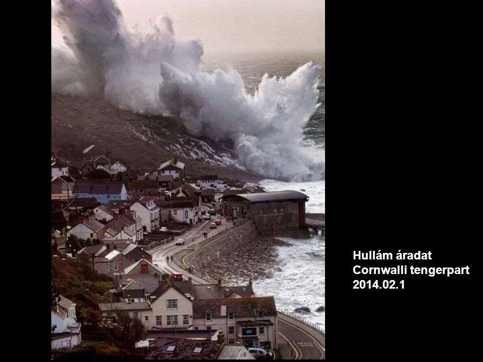 Hullám áradat Cornwalli tengerpart 2014.02.1