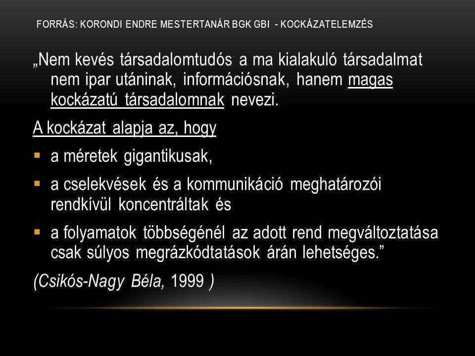 Forrás: Korondi Endre mestertanár BGK GBI - Kockázatelemzés