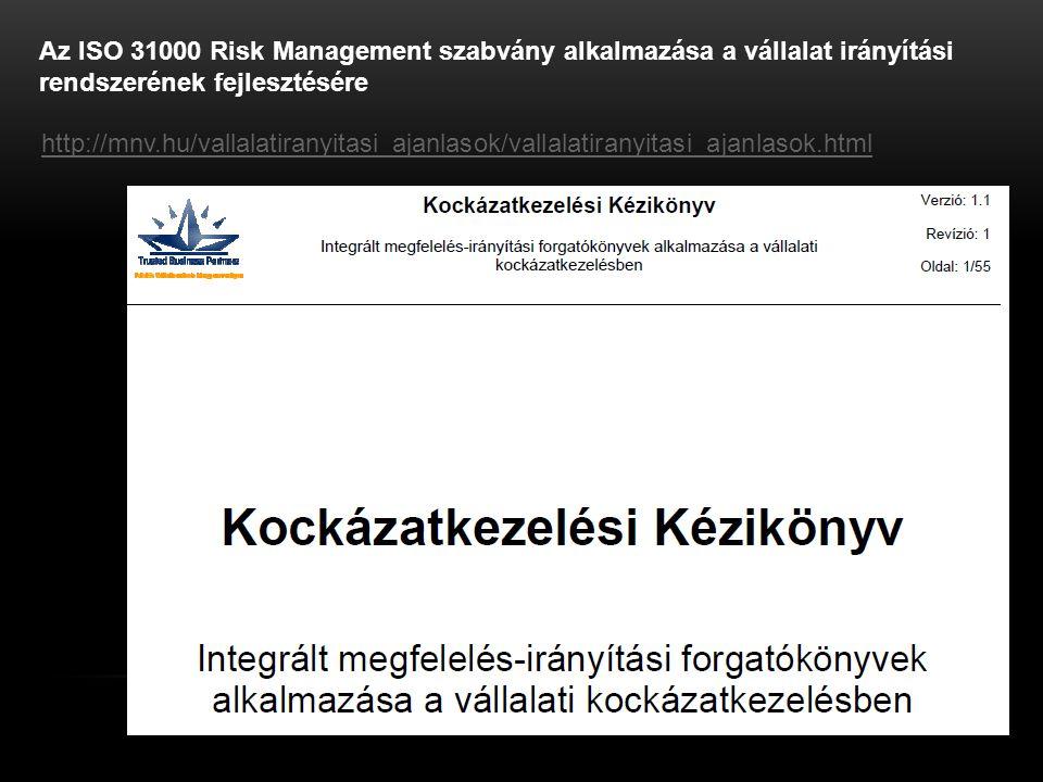 Az ISO 31000 Risk Management szabvány alkalmazása a vállalat irányítási rendszerének fejlesztésére