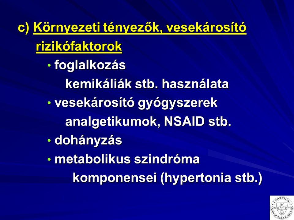 c) Környezeti tényezők, vesekárosító