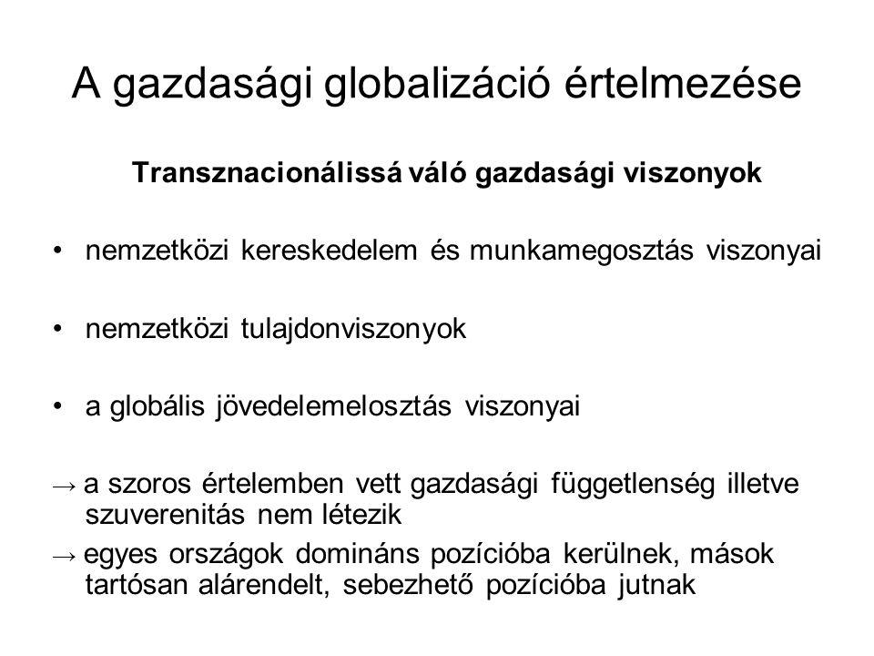 A gazdasági globalizáció értelmezése
