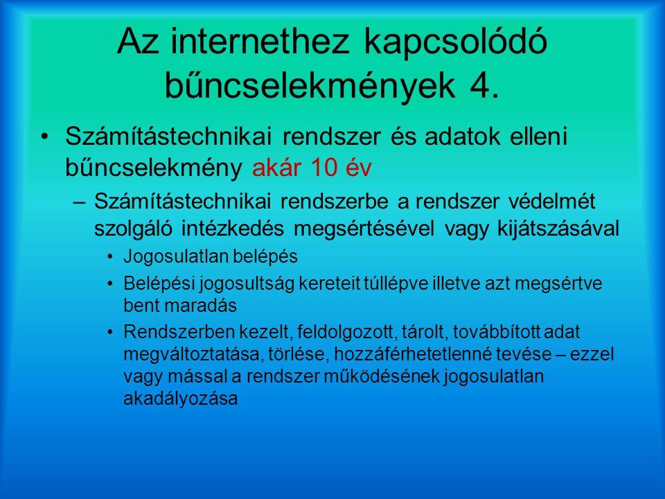 Az internethez kapcsolódó bűncselekmények 4.