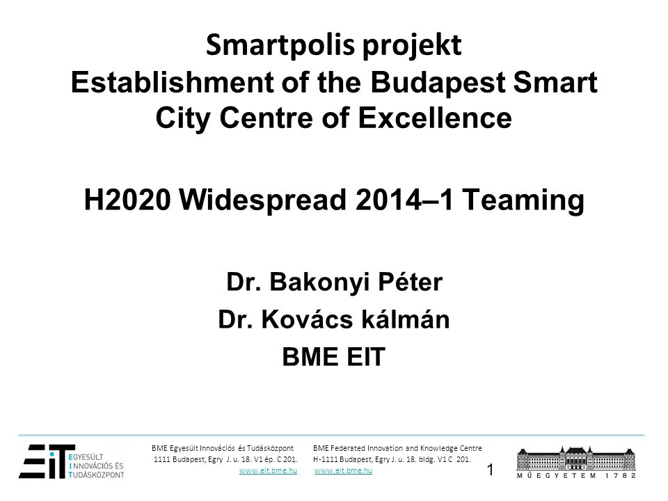 Smartpolis projekt Establishment of the Budapest Smart City Centre of Excellence