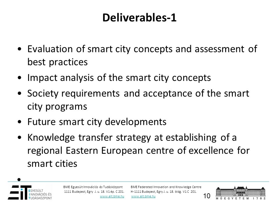 Deliverables-1 Evaluation of smart city concepts and assessment of best practices. Impact analysis of the smart city concepts.