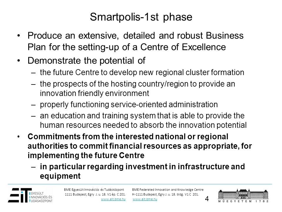 Smartpolis-1st phase Produce an extensive, detailed and robust Business Plan for the setting-up of a Centre of Excellence.