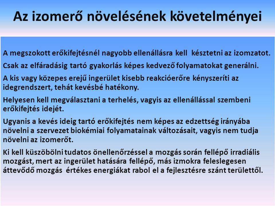 Az izomerő növelésének követelményei